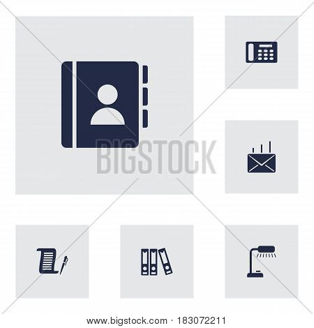 Set Of 6 Bureau Icons Set.Collection Of Mail, Contract, Address Book And Other Elements.