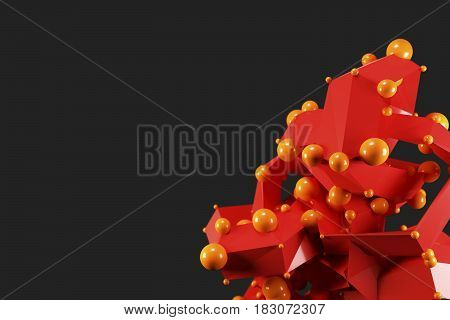 Abstract lowpoly polygonal shape with spheres on dark background