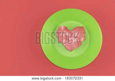 Abstract metal heart on a green plate on red background. 3d rendering