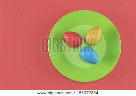 Three color eggs on a green plate on red background. 3d rendering