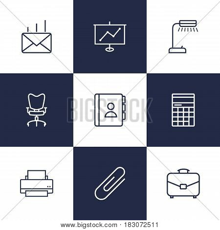 Set Of 9 Bureau Outline Icons Set.Collection Of Fastener Paper, Telephone Directory, Post And Other Elements.