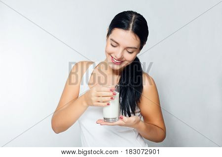 Milk - Woman Drinking Milk, Happy And Smiling Beautiful Young Woman Enjoying A Glass Milk