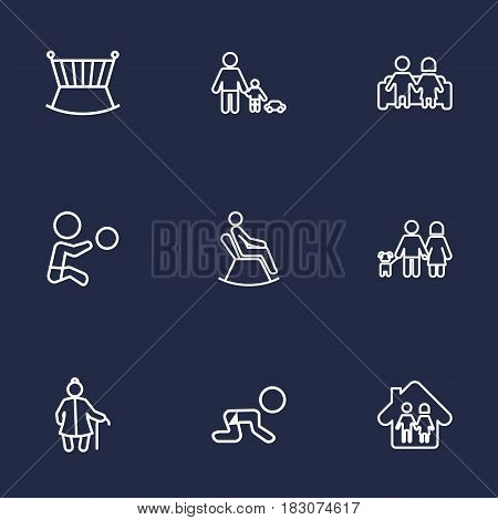 Set Of 9 Family Outline Icons Set.Collection Of Couple, Man In Armchair, Crawling Kid And Other Elements.