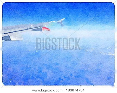 Digital watercolor painting background of white clouds and an airplane wing in the blue sky with mountains below and space for text.