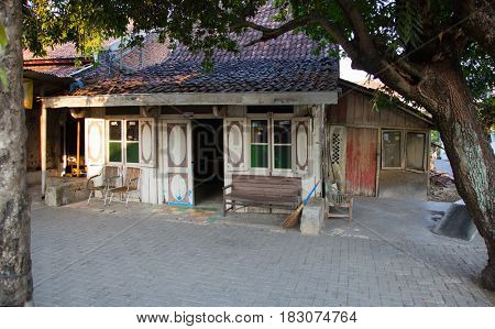 Semarang, Indonesia - september 12, 2015: Traditional wooden house in Semarang, Indonesia