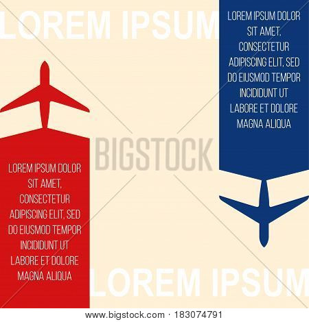 Air travel Vector illustration Background with colorful airplanes Poster template Two silhouettes of airplanes of different colors with a strip for text in the tail of the aircraft are flying in different directions