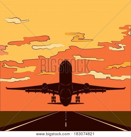 Air travel Vector illustration The airplane is taking off from the runway at sunset Comic's style