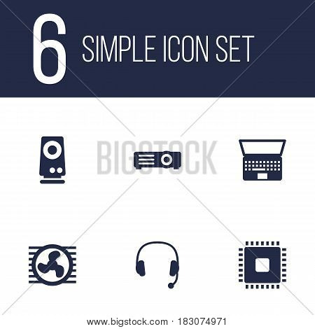 Set Of 6 Notebook Icons Set.Collection Of Amplifier, Headset, Show And Other Elements.