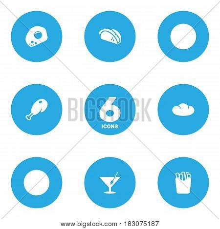 Set Of 6 Food Icons Set.Collection Of Mexican Food, Fried Poultry, Baguette And Other Elements.