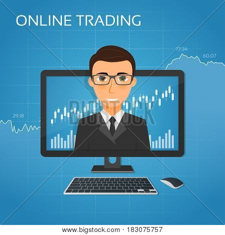 Trading online concept with businessman on the monitor screen. Vector illustration.