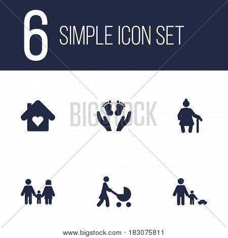 Set Of 6 Family Icons Set.Collection Of Grandma , Father With Son, Relatives Elements.