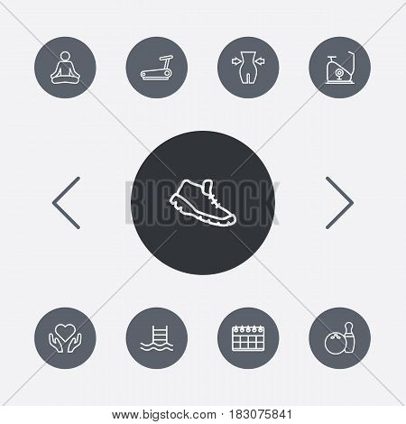 Set Of 9 Training Outline Icons Set.Collection Of Bowling, Trekking Shoes, Weight Loss And Other Elements.