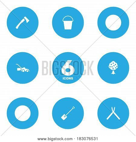 Set Of 6 Horticulture Icons Set.Collection Of Axe, Garden, Scissors And Other Elements.
