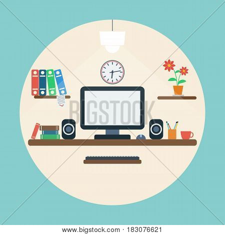 Home computer workplace flat design style vector concept illustration