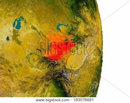 Kyrgyzstan On Model Of Planet Earth