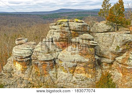 Colorful Rocks in the Wilderness in Garden of the Gods in Shawnee National Forest in Illinois