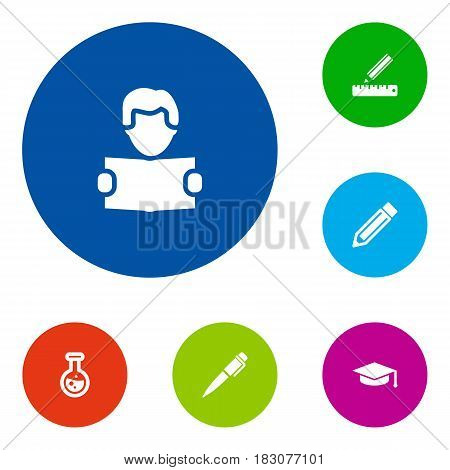 Set Of 6 Studies Icons Set.Collection Of Flask, Reading, Academic Hat And Other Elements.