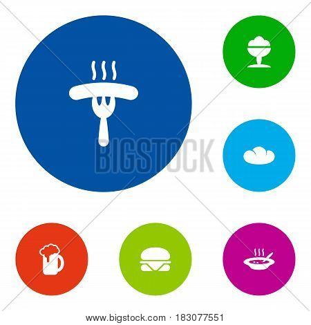 Set Of 6 Food Icons Set.Collection Of Sorbet, Baguette, Frankfurter And Other Elements.