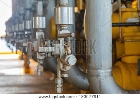 Valves manual in the processProduction process used manual valve to control the systemValve manual dirty or oldEquipment in production process.