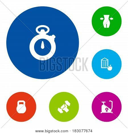 Set Of 6 Training Icons Set.Collection Of Slimming, Timer, Regime And Other Elements.