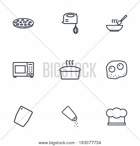 Set Of 9 Culinary Outline Icons Set.Collection Of Pizza, Salt, Bread And Other Elements.