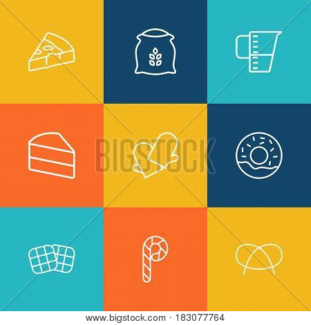 Set Of 9 Oven Outline Icons Set.Collection Of Donuts, Pretzel, Candy Cane Elements.