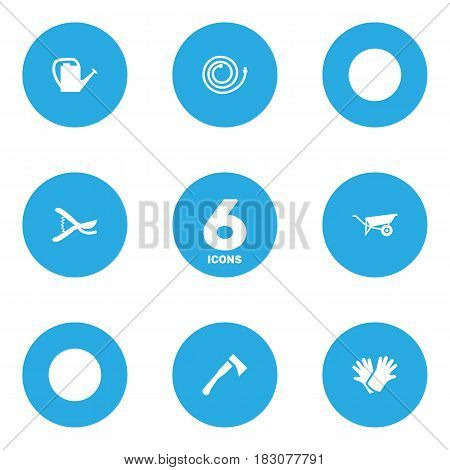 Set Of 6 Farm Icons Set.Collection Of Wheelbarrow, Garden Hose, Watering Can And Other Elements.