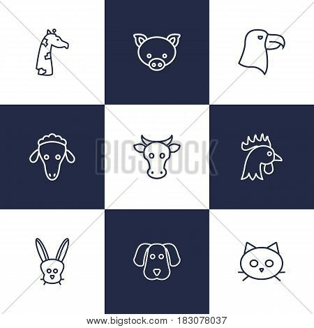Set Of 9 Brute Outline Icons Set.Collection Of Cat, Eagle, Pig And Other Elements.