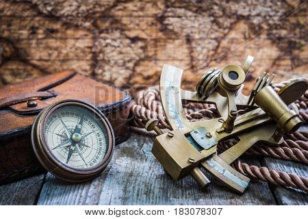 vintage still life with compass on the wooden. background with copy space ,top view