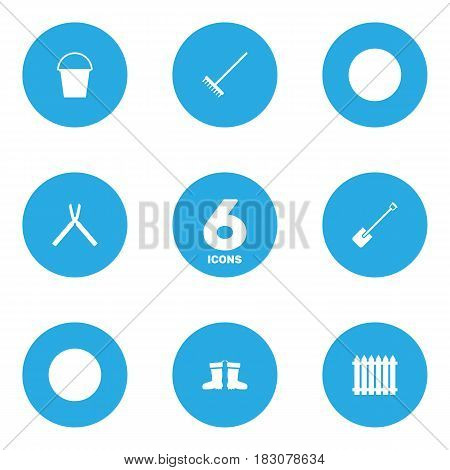 Set Of 6 Horticulture Icons Set.Collection Of Rubber Boots, Scissors, Shovel And Other Elements.