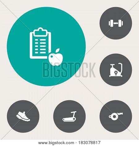 Set Of 6 Training Icons Set.Collection Of Regime, Treadmill, Barbell And Other Elements.