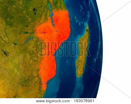 Mozambique On Model Of Planet Earth