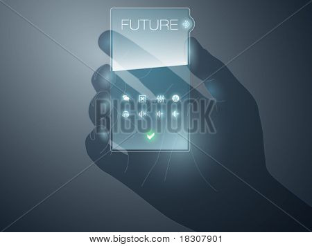 Futurisric mobile device vector with transparency effect