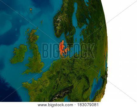 Denmark On Model Of Planet Earth