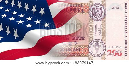 The concept of economic and political relationships the United States with Moldova. 3D illustration.