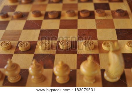 chess old wood game, play game background