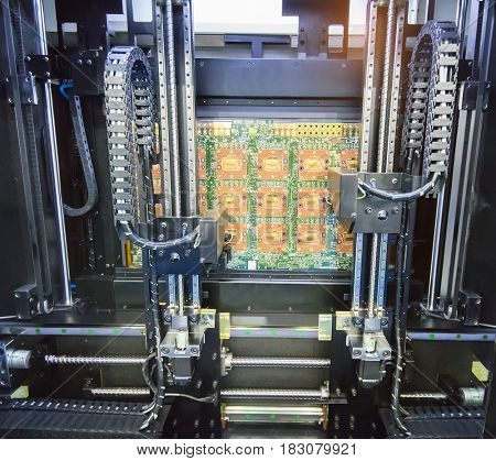 PCB Processing on CNC machine,Production of electronic components at high-tech factory