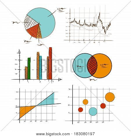 hand drawing chart graphic collection set for business and statistics education such as venn-diagram bar pie and scattered bullet area vector