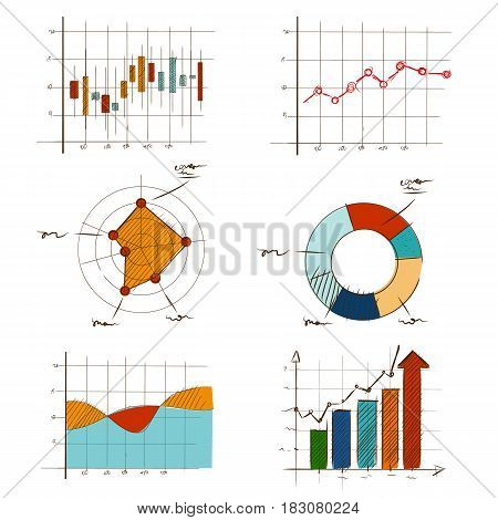 hand drawing chart graphic collection set for business and statistics education such as radar, candle stick, doughnut, line and bar vector