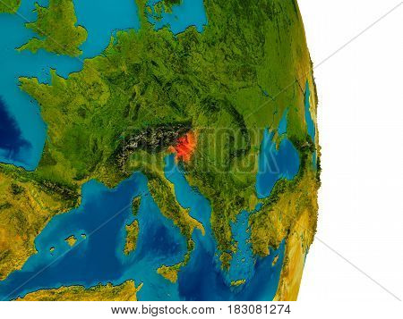 Slovenia On Model Of Planet Earth