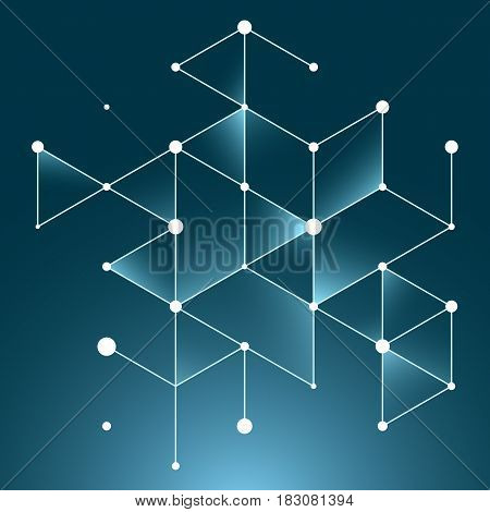 Vector abstract boxes background. Modern technology illustration with square mesh. Digital geometric abstraction with lines and points. Cube cell.