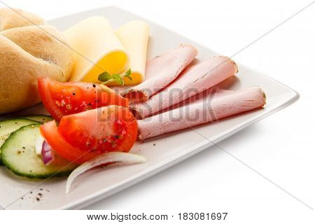 Breakfast - ham and cheese sandwich