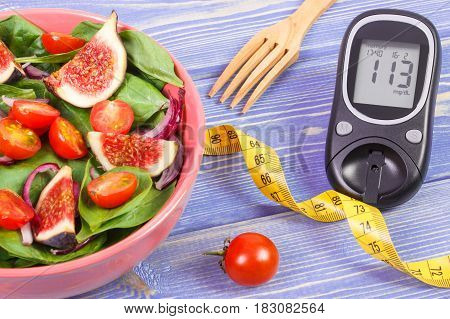 Fruit And Vegetable Salad And Glucose Meter With Tape Measure, Concept Of Diabetes, Slimming And Hea