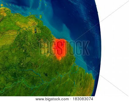 Suriname On Model Of Planet Earth