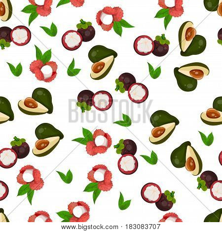 Very high quality original trendy vector seamless pattern with lychee, mangosteen, avocado, exotic tropical fruit