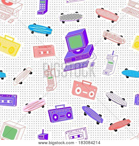 Pattern in the style of the 80's 90's from cassettes, tape recorders, computers, phones, skateboards on a background with dots