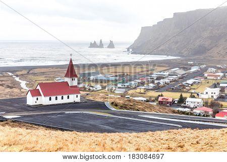 Vik i Myrdal Church in Vik village Iceland, Europe.