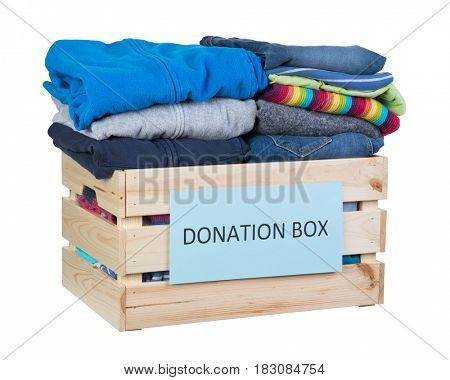 Clothes donations box isolated on white background