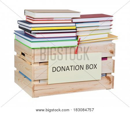 Books donations box isolated on white background