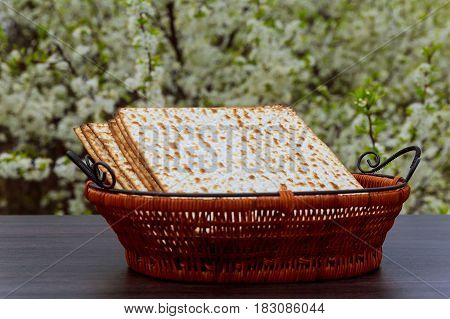 Passover Background. Matzoh Jewish Holiday Bread Wooden Table